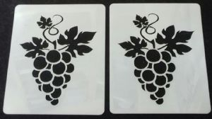 2 x grape & vine design stencil sheets for walls / card making Mylar 350 mic plastic  7 x 5 cm